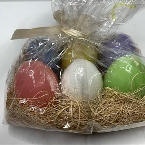 Set of 6 pastel colored egg candles NEW